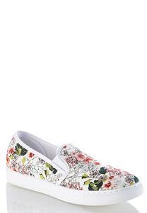 Floral Print Slip-On Sneakers