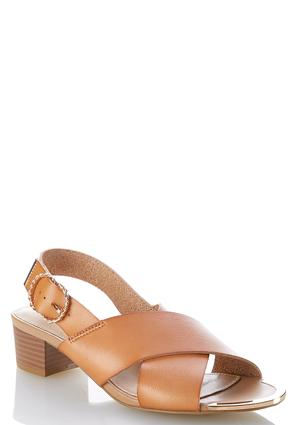 Wide Width Cross Band Heeled Sandals | Tuggl