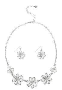 Glass Flower Necklace Set