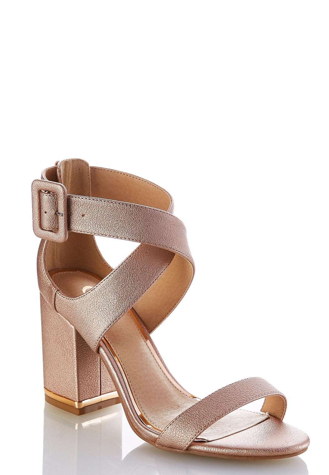 Metallic Chunky Heeled Sandals Heels Cato Fashions