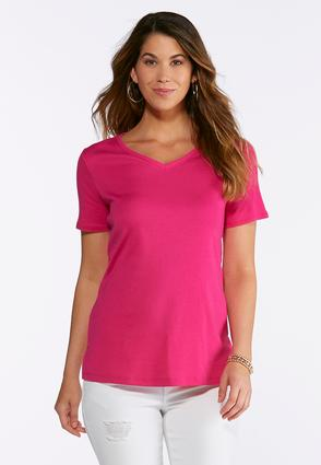 Solid V- Neck Tee- Plus