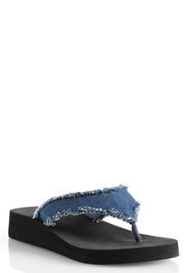 Frayed Denim Platform Flip Flops