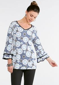 Puff Print Tiered Sleeve Top