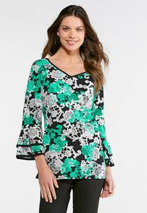 Floral Puff Print Top-Plus