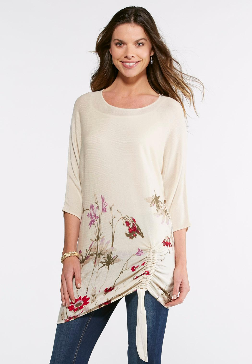 Floral Drawstring Tunic Sweater Pullovers Cato Fashions