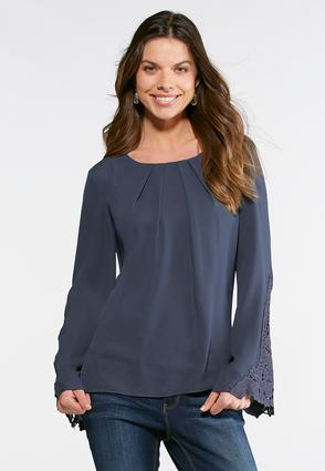 Pleated Lace Sleeve Top- Plus
