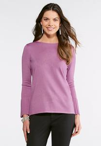 Pleated Cuff Boatneck Sweater
