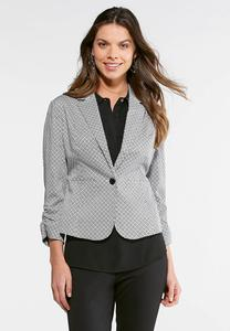 Geo Black and White Jacket-Plus