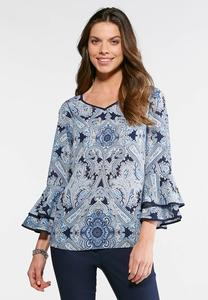 Paisley and Piping Poet Top