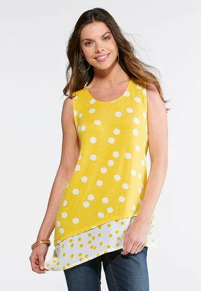 Plus Size Gold Dotted Tunic Tank