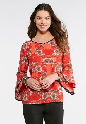 Floral And Piping Poet Top- Plus