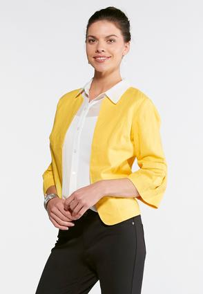Plus Size Cropped Gold Linen Jacket