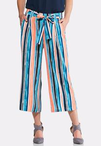 Stripe Wide Leg Cropped Pants