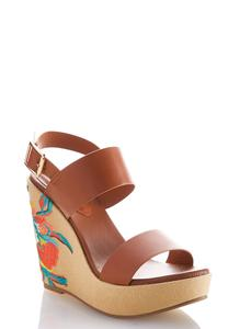 Embroidered Wedge Sandals