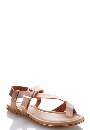 Metallic Toe Loop Sandals | Tuggl
