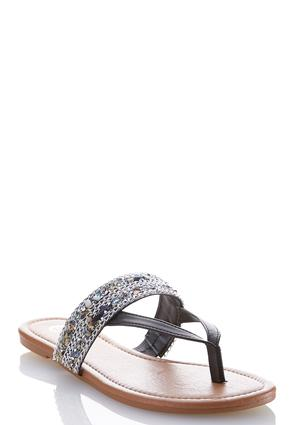 Embellished Thong Sandals | Tuggl