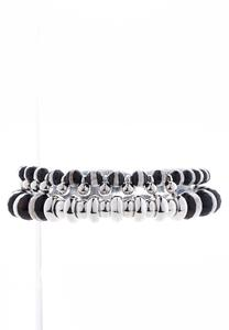 Zebra Beaded Stretch Bracelet Set