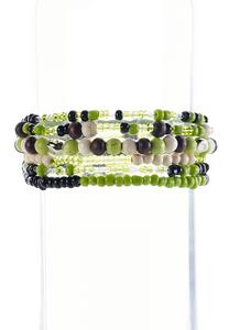 Lime Mixed Bead Stretch Bracelet Set