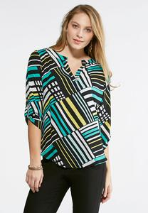 Mixed Stripe Pullover Tunic-Plus