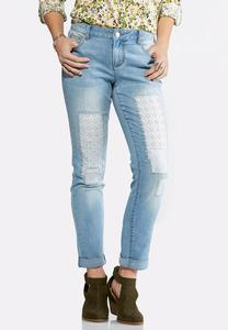 Eyelet Patchwork Ankle Jeans