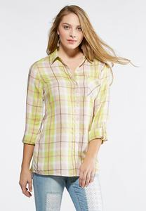 Lime Plaid Boyfriend Shirt