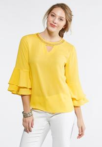 Embellished Ruffle Sleeve Top