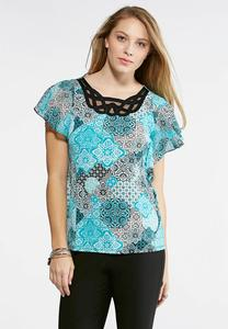 Plus Size Decorative Flutter Sleeve Top
