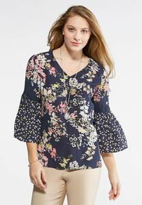 Floral Lace Embellished Poet Top-Plus