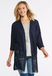 Wide Lace Hem Cardigan