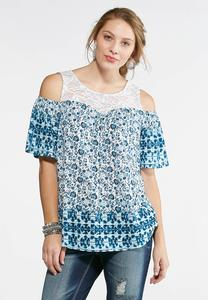 Lace Floral Cold Shoulder Top