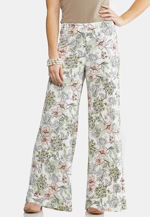 Petite Sketch Floral Palazzo Pants at Cato in Brooklyn, NY | Tuggl