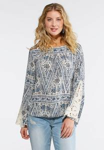 Pleated Lace Sleeve Printed Top
