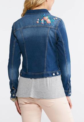 Floral Embroidered Denim Jacket-Plus | Tuggl
