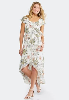 Plus Size Ruffle Floral High-Low Dress | Tuggl
