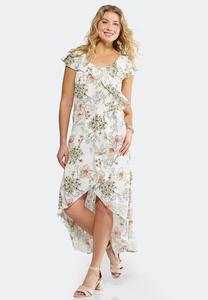 Plus Petite Ruffle Floral High-Low Dress