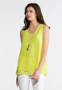 Sheer Trim High-Low Layering Tank