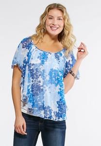 Floral Cluster Chiffon Capelet Top