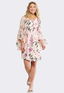 Extreme Bell Sleeve Floral Swing Dress