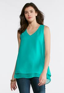 Sheer Trim High-Low Layering Tank-Plus