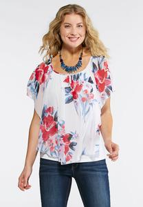 Orchid Chiffon Capelet Top-Plus