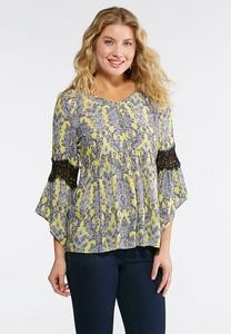 Lace Bell Sleeve Paisley Top-Plus