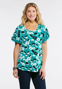 Plus Size Floral Flutter Sleeve Top
