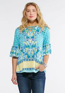 Plus Size Lattice Flounced Sleeve Top