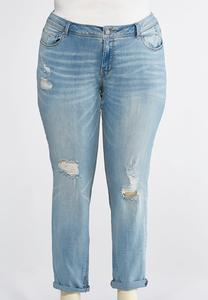 Distressed Everyday Girlfriend Jeans-Plus