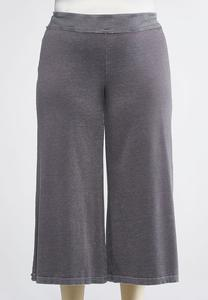 Cropped Wide Leg Athleisure Pants-Plus
