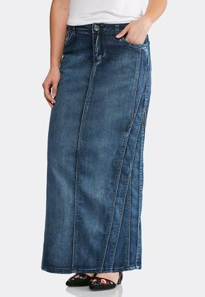 Multi Seamed Denim Maxi Skirt   Tuggl