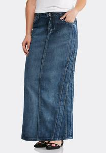 Multi Seamed Denim Maxi Skirt-Plus