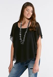 Sheer Layered Capelet Top