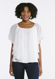 Sheer Layered Capelet Top- Plus