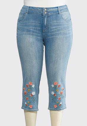Plus Size Cropped Coral Embroidered Jeans | Tuggl